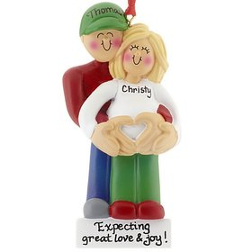 Personalized Pregnancy Couple with Heart Christmas Ornament