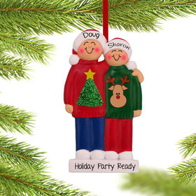 Personalized Ugly Christmas Sweater Couple Christmas Ornament