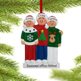 Personalized Ugly Christmas Sweater Family of 3 Christmas Ornament
