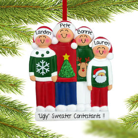 Personalized Ugly Christmas Sweater Family of 4 Christmas Ornament