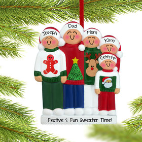 Personalized Ugly Christmas Sweater Family of 5 Christmas Ornament