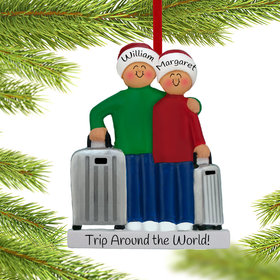 Personalized Traveling Couple Christmas Ornament