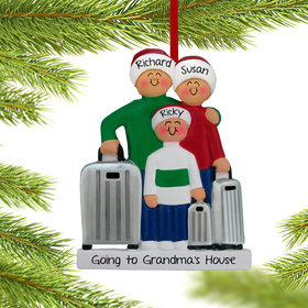Personalized Traveling Family of 3 Christmas Ornament