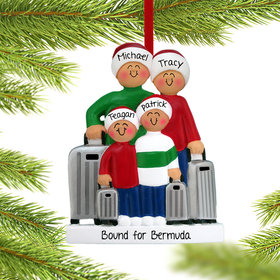 Personalized Traveling Family of 4 Christmas Ornament