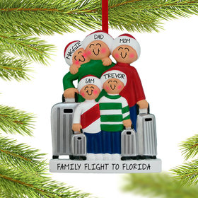 Personalized Traveling Family of 5 Christmas Ornament