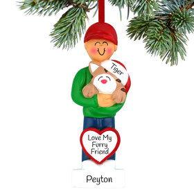 Personalized Cat Lover Boy Christmas Ornament
