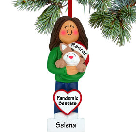 Personalized Cat Lover Girl Christmas Ornament