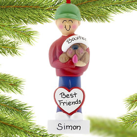 Personalized Dog Lover Boy Christmas Ornament