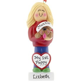 Personalized Dog Lover Girl Christmas Ornament