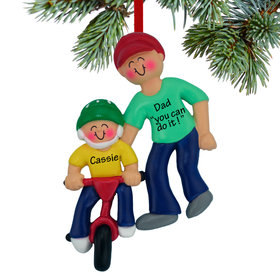 Personalized Learning To Ride A Bike (Adult Male) Christmas Ornament