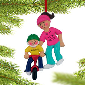 Personalized Learning To Ride A Bike (Adult Female) Christmas Ornament