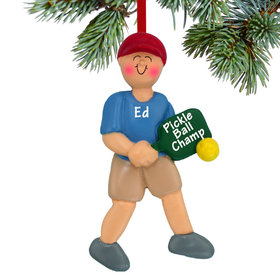 Personalized Pickleball Male Christmas Ornament