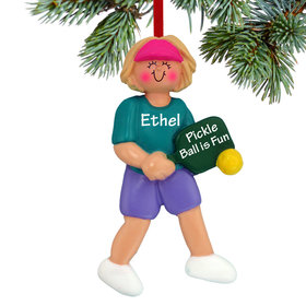 Personalized Pickleball Female Christmas Ornament