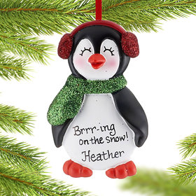 Personalized Penguin in Earmuffs Girl Christmas Ornament
