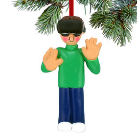 Personalized Virtual Reality Male Christmas Ornament