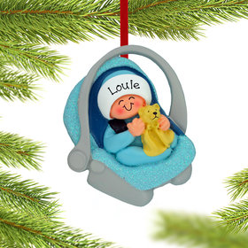 Personalized Baby Boy in Carrier Christmas Ornament