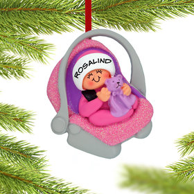 Personalized Baby Girl in Carrier Christmas Ornament