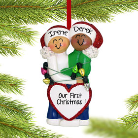Personalized Mixed Race Christmas Couple (Caucasian/) Christmas Ornament