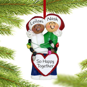 Personalized Mixed Race Christmas Couple (Ethnic/Caucasian) Christmas Ornament