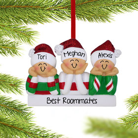 Personalized Head in Hands Family of 3 Christmas Ornament
