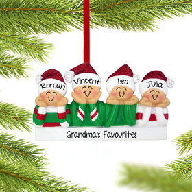 Personalized Head in Hands Family of 4 Christmas Ornament