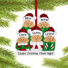 Personalized Head in Hands Family of 5 Christmas Ornament