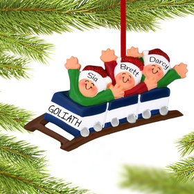 Personalized Roller Coaster Family of 3 Christmas Ornament