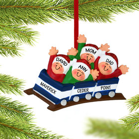 Personalized Roller Coaster Family of 4 Christmas Ornament
