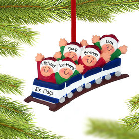 Personalized Roller Coaster Family of 5 Christmas Ornament