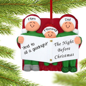 Personalized Night Before Christmas Family of 3 Christmas Ornament