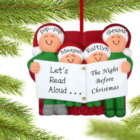 Personalized Night Before Christmas Family of 4 Christmas Ornament