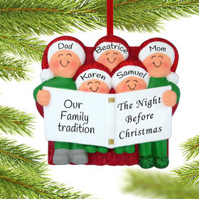 Personalized Night Before Christmas Family of 5 Christmas Ornament