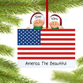 Personalized Patriotic Couple Christmas Ornament