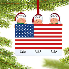 Personalized Patriotic Family of 3 Christmas Ornament