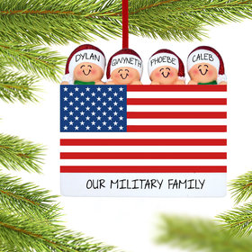 Personalized Patriotic Family of 4 Christmas Ornament