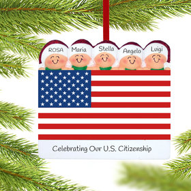 Personalized Patriotic Family of 5 Christmas Ornament