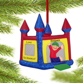 Personalized Bouncy House Boy Christmas Ornament