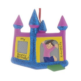 Personalized Bouncy House Girl Christmas Ornament