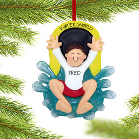 Personalized Water Slide Boy Christmas Ornament