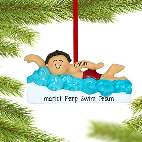 Personalized Learning to Swim Boy Christmas Ornament