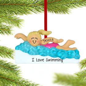 Personalized Learning to Swim Girl Christmas Ornament
