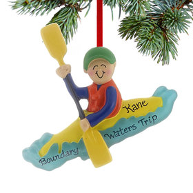 Personalized Kayaking Male Christmas Ornament
