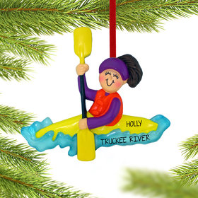 Personalized Kayaking Female Christmas Ornament