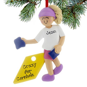 Personalized Corn Hole Game Girl Christmas Ornament