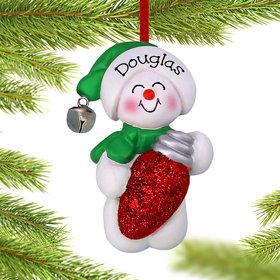 Personalized Snowman with Christmas Light Christmas Ornament