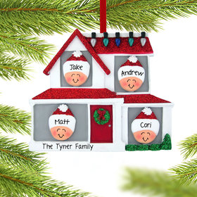 Personalized Family of 4 in House Christmas Ornament