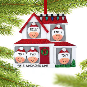Personalized Family of 5 in House Christmas Ornament