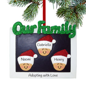 Personalized Our Family of 3 Christmas Ornament