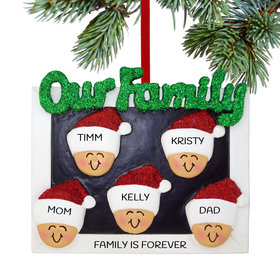Personalized Our Family of 5 Christmas Ornament