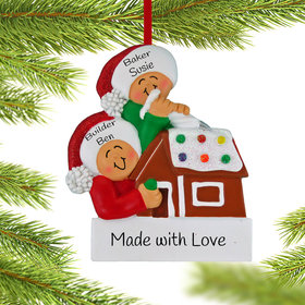 Personalized Making a Gingerbread House Couple Christmas Ornament